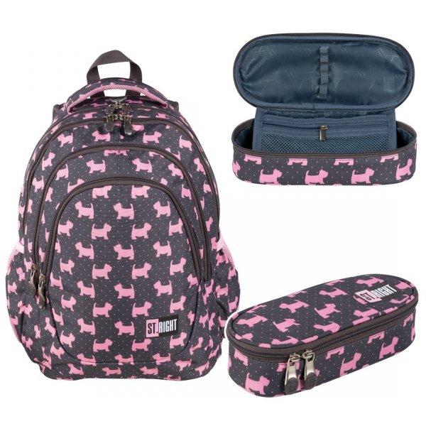 ZESTAW 2 el. Plecak szkolny młodzieżowy ST.RIGHT w psiaki, DOGGIES BP6 (25626SET2CZ)