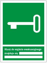 Znak klucz do wyjścia ewakuacyjnego znajduje się 117 (F.F.)