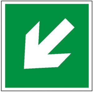 Znak kierunek drogi ewakuacyjnej strzałka skośna E00-2 (F.F.) 150x150
