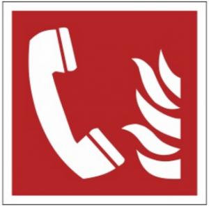 Znak telefon alarmowania pożarowego F06 (PZ) 150x150