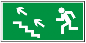 Kierunek do wyjścia drogi ewakuacyjnej schodami w górę na lewo 107 (P.F.)