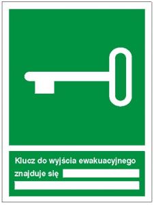 Znak klucz do wyjścia ewakuacyjnego znajduje się 117 (P.F.)