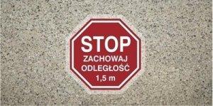 STOP Znak antypoślizgowy zachowaj odległość 1,5 m samoprzylepny