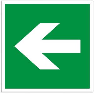 Znak kierunek drogi ewakuacyjnej E00-01 (P. F.) 150x150