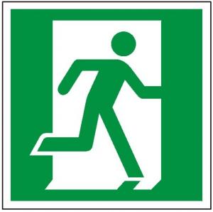 Znak wyjście ewakuacyjne prawostronne E02 (F.F.) 150X150