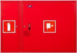 Hydrant wewnętrzny z miejscem na gaśnice obok z  wężem półsztywnym 25/20+G wnękowy czerwony
