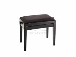 K&M 13900 ława do fortepianu, regulowana, czarny mat, siedzisko czarne - imitacja skóry