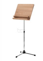K&M 11831 (118/3) pulpit do nut, statyw niklowany, płyta pełna drewno orzechowe, blat z podwójną półką