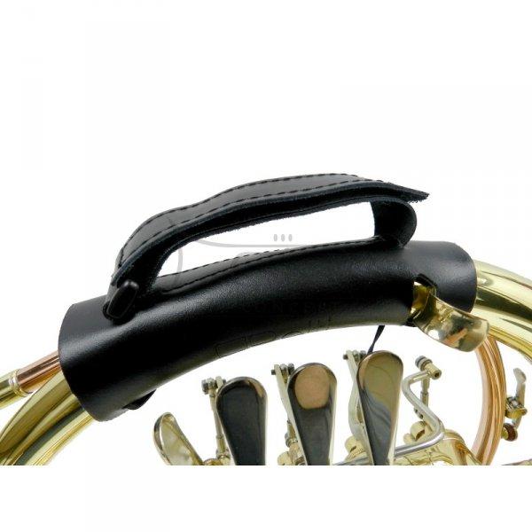 BELTI uchwyt ochronny do waltorni podwójnej, skórzany, z podpórką na rękę, model WSOW12