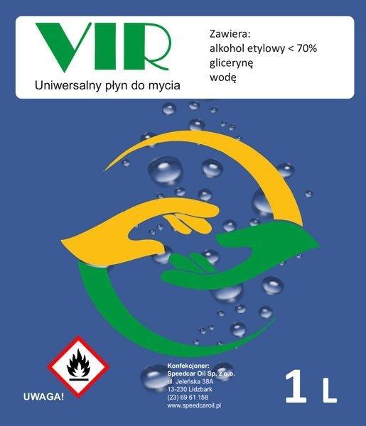 Środek do dezynfekcji z ponad 72% alkoholu etylowego VIR 1L