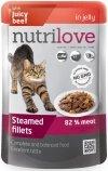 Nutrilove Premium Gotowane na parze delikatne fileciki z wołowiną w galaretce dla kota 28x85g