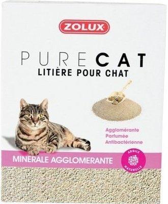 Zolux Pure Cat - Żwirek mineralny dla kota - zbrylający, antybakteryjny 10l x 8 szt