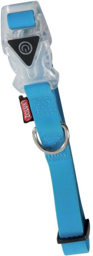 Zolux Obroża silikonowa świecąca - regulowana niebieska 34-53cm/20mm