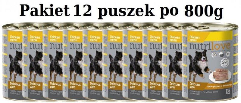 Nutrilove Dog Premium Pyszny pasztet dla psa z kurczaka 12x800g