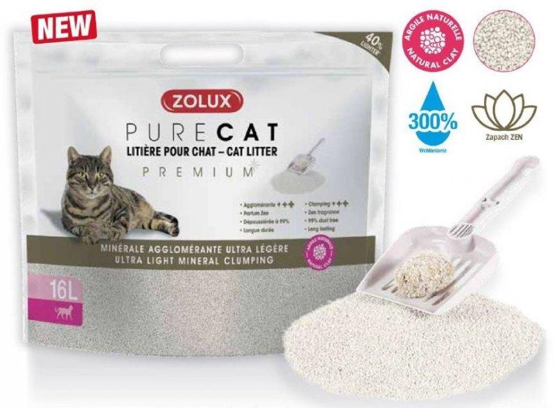Zolux Pure Cat - Żwirek Premium mineralny dla kota - zbrylający i ultralekki 16l