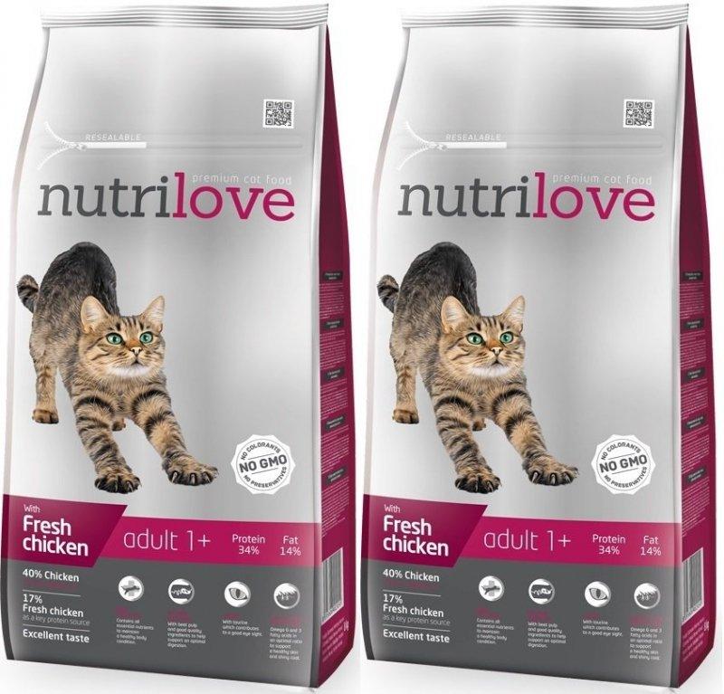 Nutrilove Premium Adult 1+ ze świeżym kurczakiem 2x8kg (16kg)
