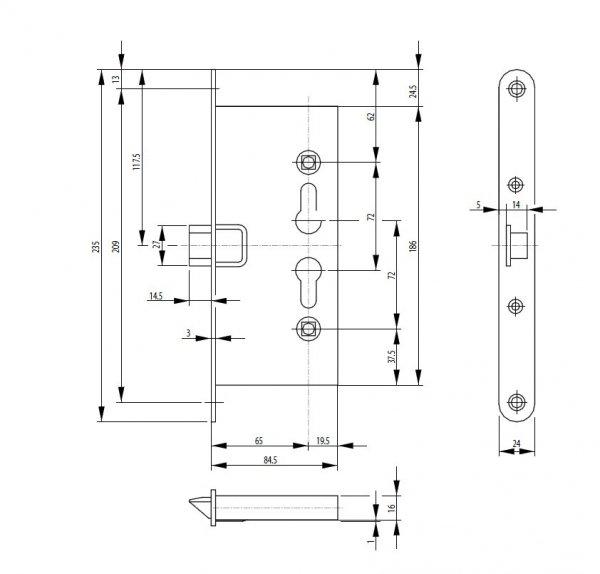 Zamek wpuszczany przeciwpożarowy ABUS EFS65 72/65