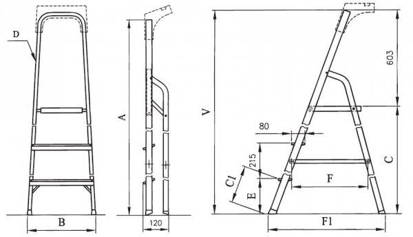 Drabina domowa aluminiowa ALW04