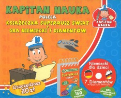 Kapitan Nauka poleca. Książeczka superquiz świat + gra niemiecki 7 diamentów