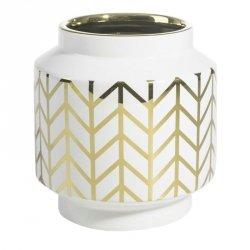 Wazon dekoracyjny EMERA3 18X19 Biały+Złoty
