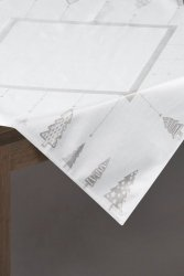 Obrus CHRIS Świąteczny 85X85 Biało Srebrny