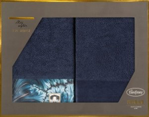 Eva Minge Komplet Ręczników CHIARA 50x90 Granatowy Eurofirany