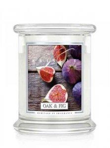 Kringle Candle - Oak & Fig - średni, klasyczny słoik (411g) z 2 knotami