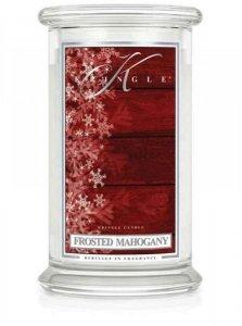 Kringle Candle - Frosted Mahogany - duży, klasyczny słoik (623g) z 2 knotami