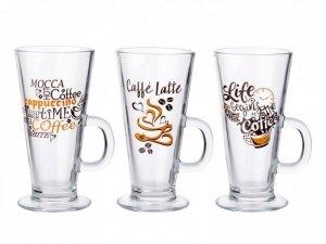 KUBEK LATTE COFFEE TIME SZKLANY 275ML - MIX 3 DEKORACJI
