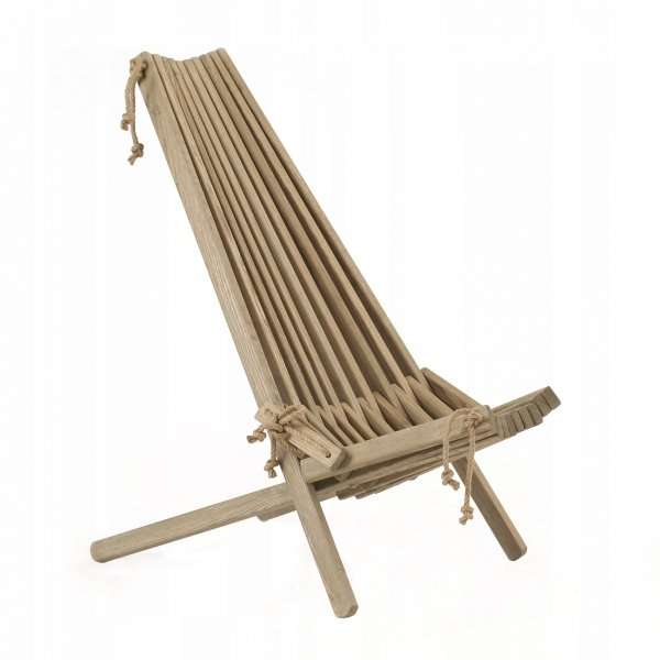 Leżak Fotel drewniany EcoFurn EcoChair Jesion Szary Olej