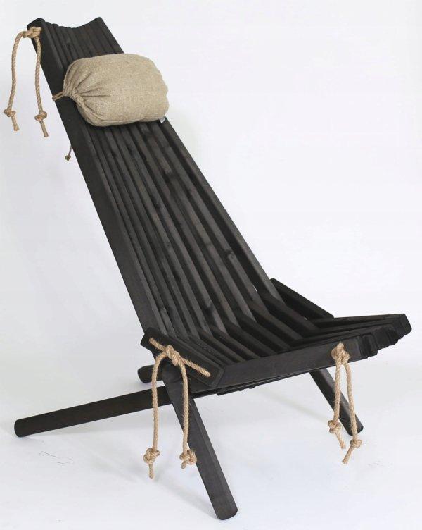 Leżak Fotel drewniany EcoFurn EcoChair Olcha Czarny