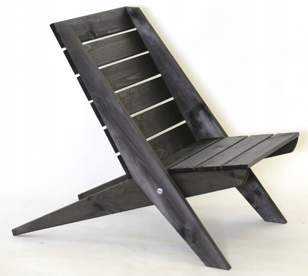 Leżak Fotel drewniany EcoFurn Granny Sosna Czarny