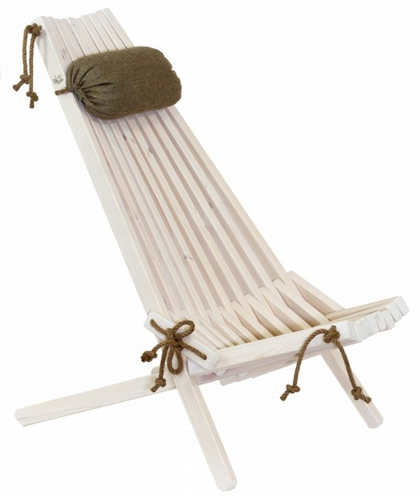 Leżak Fotel drewniany EcoChair EcoFurn Sosna Biały Olej