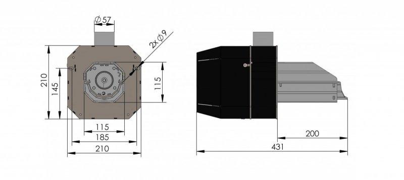 Rysunek palnik basic rynnowy 4-16 kw