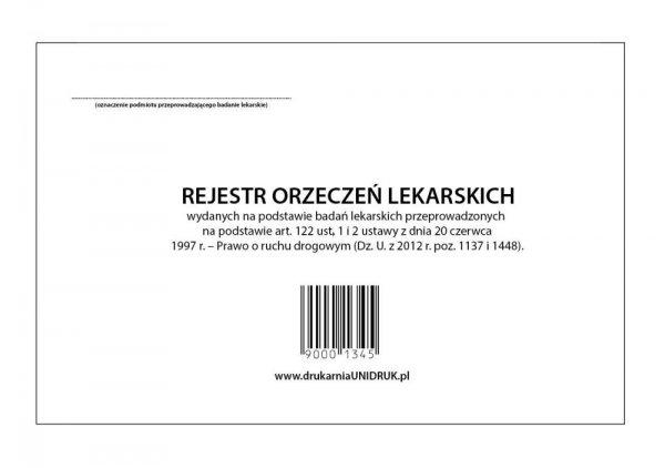 Rejestr wydanych orzeczeń (kierowcy) A-4