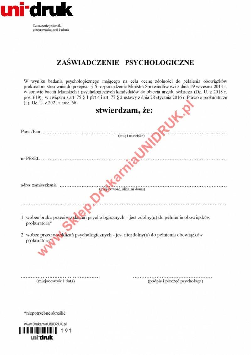 Zaświadczenie psychologiczne dla prokuratora - druk