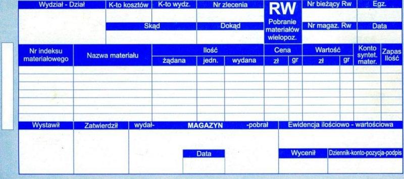Druk RW - pobranie materiału - wielokopia