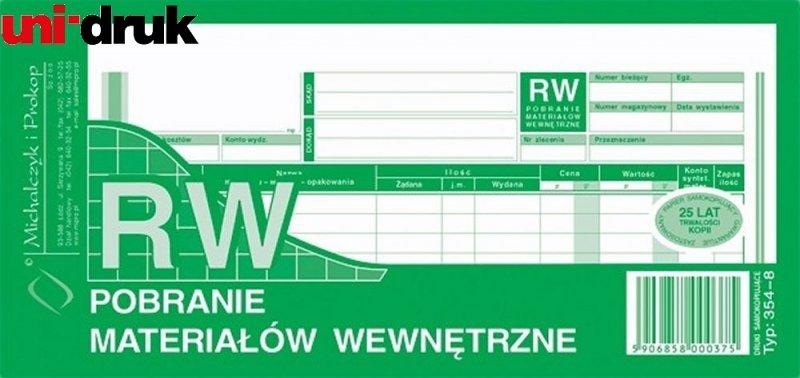 Druk RW - pobranie materiału 354-8
