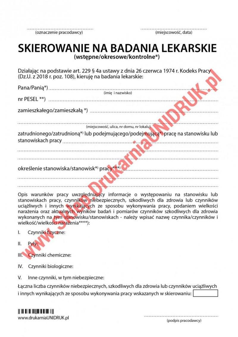 Skierowanie na badania (wstępne, okresowe, kontrolne) samokopiujący - druk