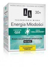 AA Energia Młodości 30+ Krem Wygładzajaco-Odżywczy Na Noc Skóra wrażliwa i skłonna do alergii 50ml
