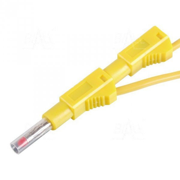 PP450-Y przewód 2x banan bezp. 4mm, 1m, 19A CAT II 600V żółty