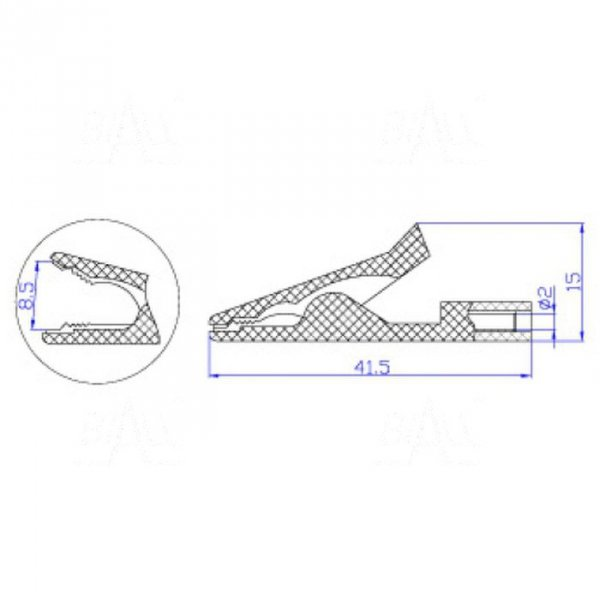 Krokodylek bezp. gn. 2mm KK187-BK 50V=/30V~ 10A czarny