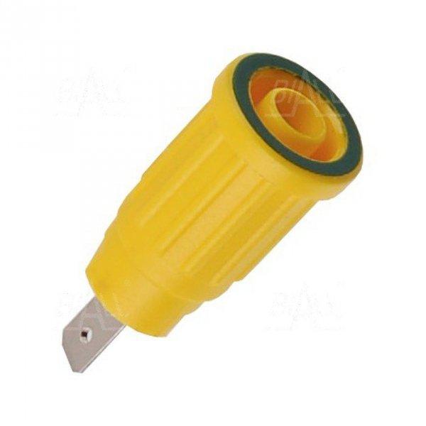 Gniazdo panel bezp. wcisk. SEPB1773-GY 24A CATII 1,5kV żółto-zielony