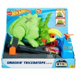 Hot Wheels Tor samochodowy City Starcie z Triceratopsem Zestaw