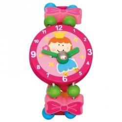BINO Zegarek drewniany różowy