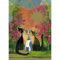 Puzzle 2000 elementów Rodzinka kotów z różami