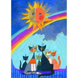 Puzzle 1000 elementów Szczęśliwa rodzinka kotów pod tęczą