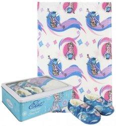Zestaw prezentowy: koc polarowy, kapcie / pantofle i pudełko metalowe Frozen - Kraina Lodu : Rozmiar: - 32/33