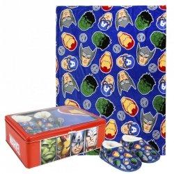 Zestaw prezentowy: koc polarowy, kapcie / pantofle i pudełko metalowe Avengers : Rozmiar: - 30/31