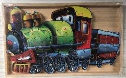 Puzzle drewniane w drewnianej ramie - lokomotywa 26 el.